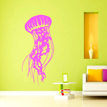 Wall Decal Vinyl Sticker Decals Art Home Decor Design Mural Jellyfish Water Deep Sea Scuba Ocean Animals Fashion Bedroom Bathroom Dorm AN242