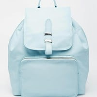 ASOS Leather Backpack with Front Zip Pocket at asos.com