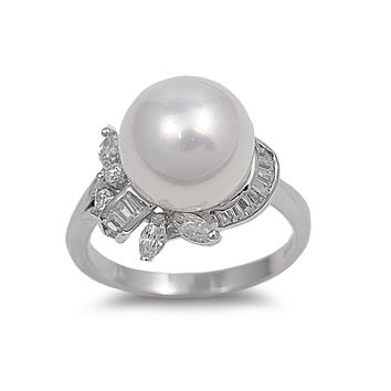 925 Sterling Silver CZ Cultured Pearl Venus Ring 17MM