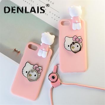 Cute 3D Pink Hello Kitty Cat Skin Cover Silicone Holder Phone Case For Samsung Galaxy S4 S5 S6 S7 Edge S8 S8plus S9 S9plus Note