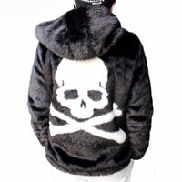 Coat Men Winter Skull Black Thick Hooded Faux Fur Parka Coats Windbreaker