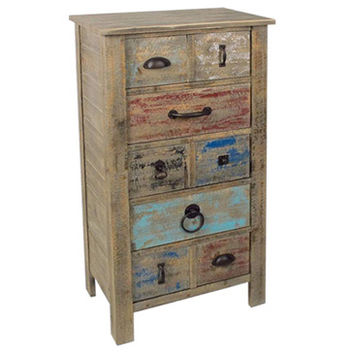Crestview Lewiston Rustic 5 Drawer Different Hardware Tall Chest