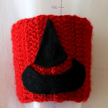 Hand Made Coffee Cozy with Halloween witch hat / Coffee sleeve