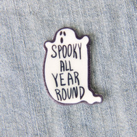 """""""Spooky All Year Round"""" Ghost Lapel Pin"""