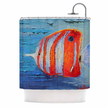 "Carol Schiff ""Coral Reef Fish 1"" Blue Orange Painting Shower Curtain"