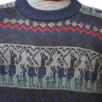 Vintage Alpaca Sweater Dark Colors Alpaca Wool Size Medium