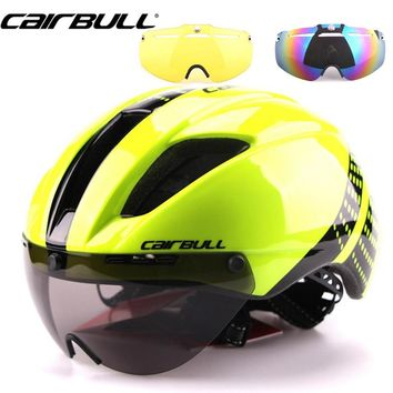 3 Lens Aero 280g In-Mold Goggles Bike Helmet Road Cycling Bicycle Sports Safety Helmet Riding Mens Speed Airo Time-Trial Helmet