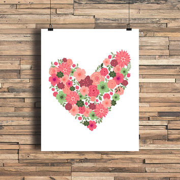 Floral Heart - Love - Minimalist Art - Home Office Bathroom Decor - Housewarming Gift - Wedding Gift - Baby Nursery Decor - Simplistic