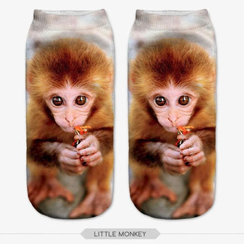 3D Baby Monkey/ Women Socks