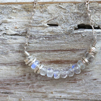 Moonstone jewelry necklace: top quality gemstone sterling silver necklace
