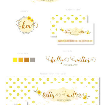Branding Kit, Watercolor flower, Yellow dots, Cover photo, Watermark, Business Card, Premade Marketing Package, Photography Logo