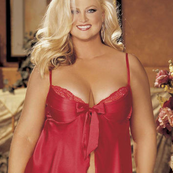 Intimate Attitudes Plus Size Charmeuse and Lace Babydoll