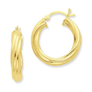 Sterling Silver Gold-flashed Wide Ribbed Twist 25mm Hoop Earrings