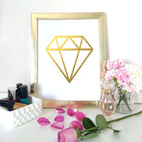 Gold diamond art print  - gold art - geometric wall decor