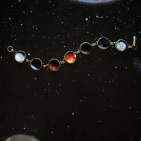 Lunar Eclipse Bracelet - Space Jewelry, Blood Moon Phase Bracelet