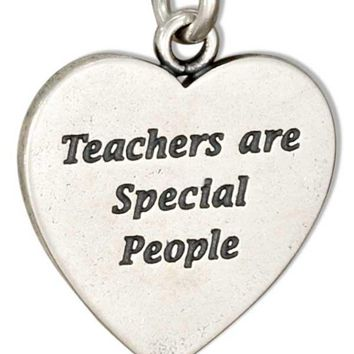 """Sterling Silver Heart Shape """"teachers Are Special People"""" Message Charm"""