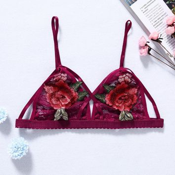 Women Rose Embroidery Strappy Bralette Cross Bandage Thick Hollow Out Underwear