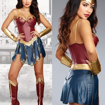S-XXL New Adult Wonder Woman Costume Halloween Dawn Of Justice Fantasy Hero Super Girl Cosplay Costume
