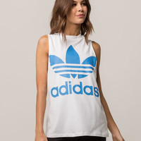 ADIDAS Trefoil White & Blue Womens Muscle Tank