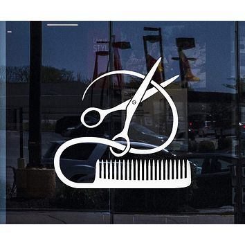 Window and Wall Decal Barber Tools Sticker Hairstyle Hair Stylist Hair Salon Beauty Decor Unique Gift ig2387w