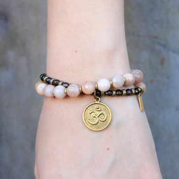Joy and Positivity, genuine faceted sunstone and smoky quartz 27 bead wrap mala bracelet™