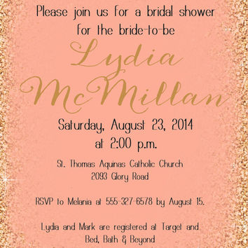 Printable Peach and Gold Glitter bridal shower Invitation