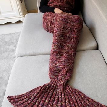 Crochet Knit Triangle Mermaid Blanket Throw