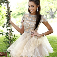 Sherri Hill 21304 - Beaded Nude Lace Dress with Cap Sleeves and High Neckline