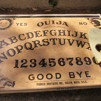 Vintage WILLIAM FULD 1960's Ouija Board and Planchette with Box and CUSTOM Made Wall Display Shelf ~ Gothic Mysterious Decor ~Ouija Wall Art