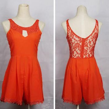 New Women Orange Patchwork Lace Hollow-out Backless Round Neck Midi Dress