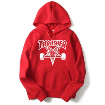 """Thrasher"" Fashion  skateboard leisure loose hooded sweater  Red (4 color)"