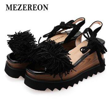 MEZEREON Platform Shoes Girls  Summer Suede Leather Platform Sandals Women Big Szie Fringe Sandals Wedges Summer Shoes Open Toes