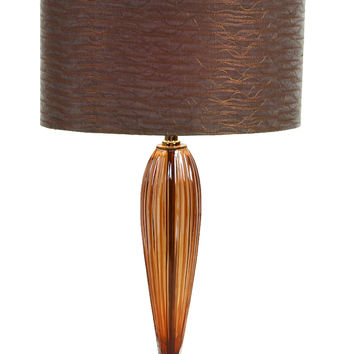 Glass Metal Table Lamp With Round Base With Glass Shade