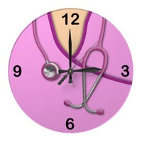 Pink Medical Scrubs Square Wallclocks from Zazzle.com