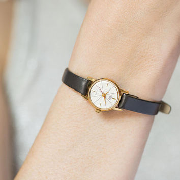 Minimalist women's watch gold plated tiny. Vintage small women's watch. Micro watch lady timepiece. Wedding gift. Premium leather strap new