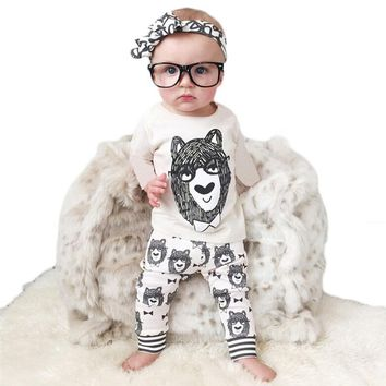 2 Pieces Baby Boy Clothes Spring Summer 2017 Newborn Baby boys Clothing Sets Children costume Cartoon Little Monsters  T01