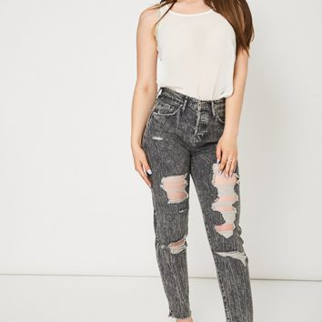 Ripped Straight Jeans Ex-Branded