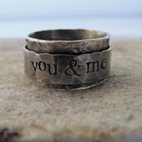 Rustic distressed personalized spinner ring by tinahdee on Etsy