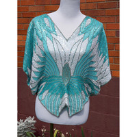 Vintage Butterfly Blouse Sequin beaded 70s Top, Disco, Party, Evening, Aqua, Turquoise, Sparkle, Sho Max, Formal, Occasion