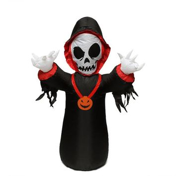 4' Inflatable Spooky Grim Reaper Lighted Halloween Yard Art Decoration