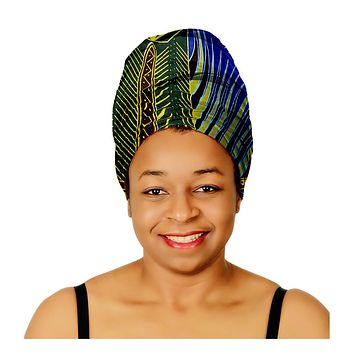 "SALE - KENTE Extra Long 72""×22"" Headwrap ANKARA Dashiki African Print Tropical Head Wraps/Scarfs for Women - Blue, Brown and Yellow Headwrap Tie Hat - Ethnic Tribal"