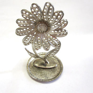 Flower earring Holder Silver Jewelry Tree