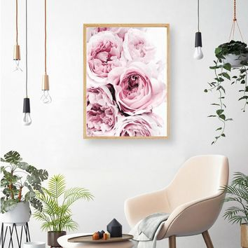 Bedroom Wall Decor Pink and Grey Floral Flower Canvas Painting Wall Art Canvas Posters Nordic Prints Decorative Picture Modern