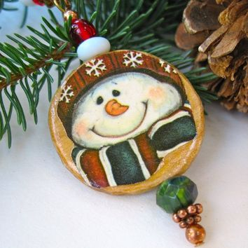 Happy Snowman Christmas Ornament Decoupage Wood Woodland Mini Decoration Holiday Decor