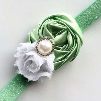 Sparkly Mint Green Headband - Mint Green Rose Head Band for Girls - Mint Green Flower Headband - Green Glitter Headband for Toddler -