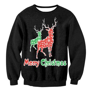 Merry Christmas Reindeer Print Women Christmas Party Sweatshirt