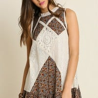 Floral Lace Detail Dress - Natural