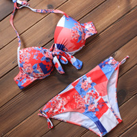 Sexy Women's Floral Printed Push up Bikini Swimsuits Two Pieces
