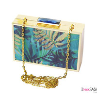 PALM LEAVES CLUTCH bag, Gold Box clutch, gold minaudiere, Turquoise Luxury evening Bag, wedding bag, bridesmaid, prom party Clutch Purse