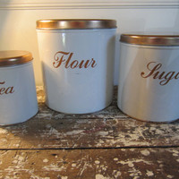 Vintage Decoware Canister Set Copper and Cream Storage Metal Tins